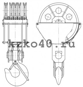 Крюковая подвеска ПК-50-24А-5-800-28  по ОСТ 24.19.105-82