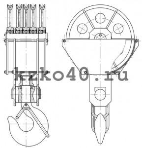 Крюковая подвеска ПК-50-24А-5-900-28 изготовленная по ОСТ 24.19.105-82